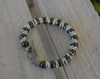 Hematite pearl bracelet, silver rings and toggle clasp