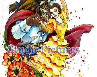 Beauty and the Best illustration, watercolor, for print, princess Belle, posters disney, disney poster, princesses disney, posters, poster