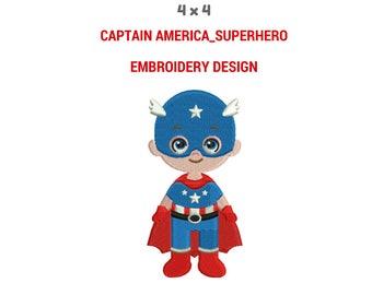 Captain America Embroidery Design | Cute Boy Embroidery Design | Superhero Hoop Embroidery Design | Digital Download