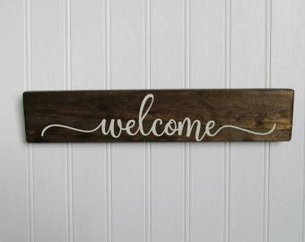Welcome Sign, Rustic Wood Sign, Home Decor, Kitchen Sign, Housewarming Gift