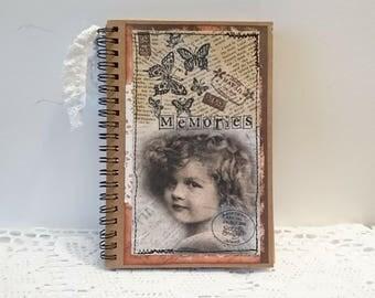 Vintage notebook, diary, journaling