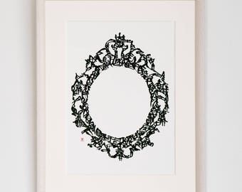 Handwriting Japanese Calligraphy Art Piece 'a frame in a frame'