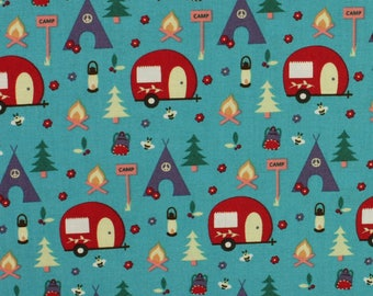 Camping 'Caravans & Teepees' by Fabric Freedom Fat Quarter