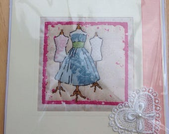 Hand Made Quilted Card Birthday Thank You Thinking Of You Vintage Fashion Dress Mannaquin