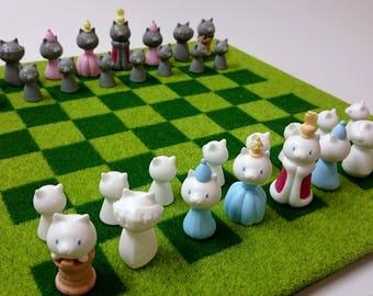 にゃんチェス [CAT CHESS] Handmade Resin Chess set