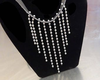 Grey leather and ball chain fringe necklace