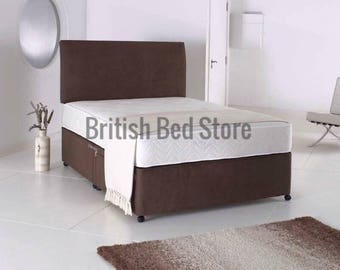 Brown Suede Divan Bed with Mattress and Headboard