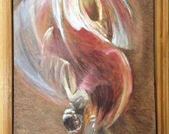 ballerina dancer oil painting russian artist red brown