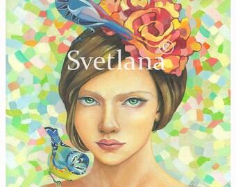"Limited edition print of original painting by Svetlana Zhelyazkova ""The Girl with the Green Eyes"""
