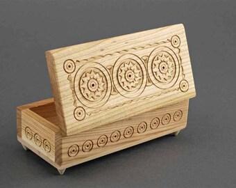 Beautiful Carved - Handmade - Wooden Jewelry Box