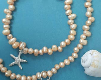 Fresh water pearls necklace and bracelet set with starfish charms