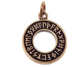 Bronze Viking Celtic Rune Pendant / Runic Circle Wheel