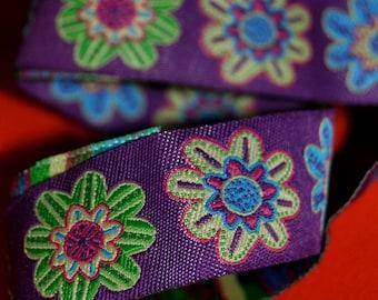 Boho Flower Jacquard Woven Ribbon Trim Purple, Green, Pink, 22mm  wide,  craft , uk ribbon, trim, sewing supplies