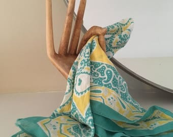 Vintage paisley bandana / neck scarf in turquoise and yellow