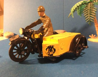 1953 Morestone AA Motorcycle Scout Patrol Vintage Motorcycle Sidecar Metal Toy Harly 40s 50s Toy Metal Toy Made in England