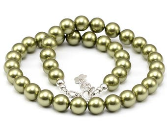 Swarovski Pearls Necklace Light Green 10 mm Pearl Necklace Green Pearls Sterling Silver Elegant Necklace