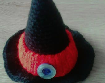 Crochet egg cosy as a witch Hat