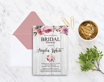 Bridal Shower Rustic Invitation Printable Floral Digital Wedding Pink Watercolor Roses  Boho Invitation Rustic Bridal Shower Invite WS-005