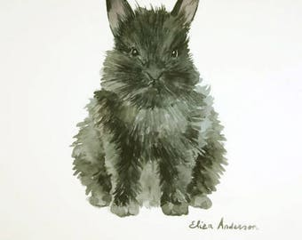ORIGINAL watercolor painting, Black rabbit watercolor, Cute bunny, Baby Nursery, Wall Art, Wall Decoration, Pet Animal art, Rabbit painting