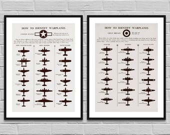 Warplanes old allied airplanes poster, Warbirds World War 2, WW2 Art, Wall art print boys rooms office, Historical Print / INSTANT DOWNLOAD