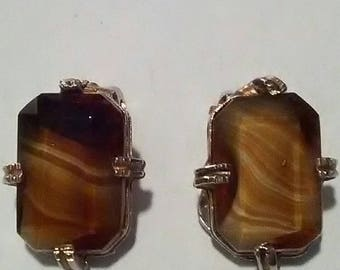 Vintage Glass Quartz And Gold Coloured Metal Clip On Earrings
