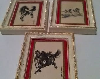 Vintage Set Of 3 A Madryn Miniature Plaques Black & White Horses Designs