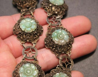 Antique Chinese Export Silver Filigree Jade Necklace