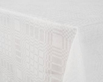 White Patterned with checks LINEN Tablecloth - made in Europe