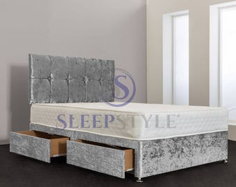 All Sizes And Any Colour Divan Bed & Headboard Including Mattress - 3FT Single / 4FT Small Double / 4FT6 Double / 5FT Kingsize / 6FT