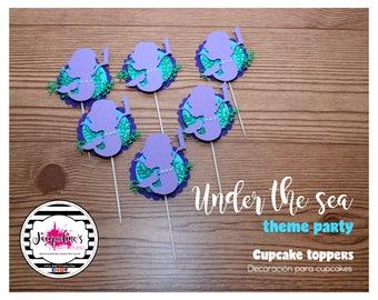 Under the Sea cupcake toppers, mermaid cupcake toppers, Ariel Cupcake toppers, Set of 12