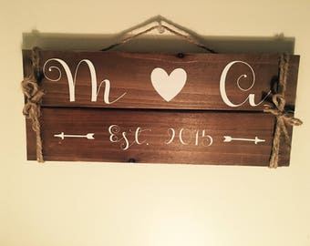 Couples 'established date' wood wall decoration.