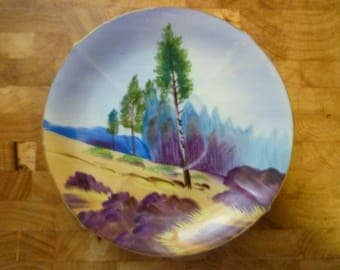vintage Norcrest handpainted plate, lodgepole pine