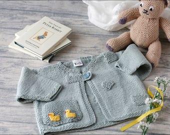 Baby boy jacket/baby hand knit/baby boy cardigan/6-9 months/baby boy gift/baby knitwear/blue baby cardigan/baby boy jacket/baby sweater