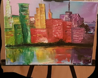 Modern city  Original hand painted oil painting abstraction colourful