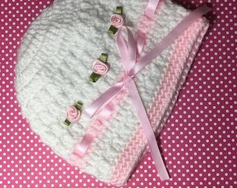 Baby Girl  Hat PINK & WHITE  HANDMADE