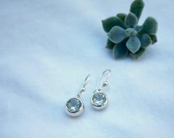 Green Amethyst Drop Earrings in Sterling Silver