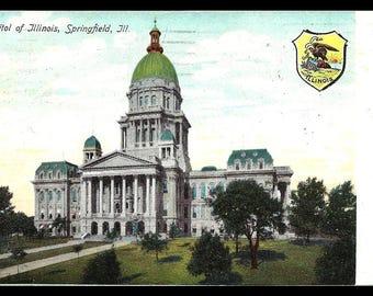 Illinois State Capitol 1907 Postcard State Seal IL PC
