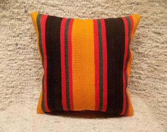 16x16 colorful pillow,turkish kilim pillow,vintage pillow,decorative cushion,bohemian pillow,kilim cushion,tribal pillow,ethnic pillow,
