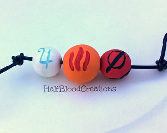 Personalized Camp Half-Blood Necklace   3 Beads   By Request Only   Hand Painted Wooden Beads   Sample Picture  