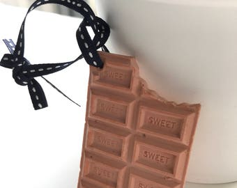 Chocolate plaster ornament with refill fragrance oil/ scented plaster /car air freshener /home fragrance/car diffuser