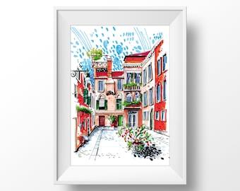 Burano   Venice   Italy. Marker Urban Sketching illustration. Home wall fine art print.