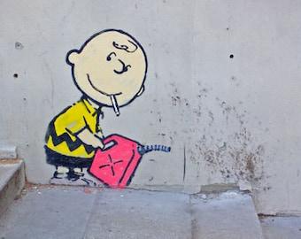 Banksy graffiti Street Art Charlie Brown 12 x 18 Canvas print