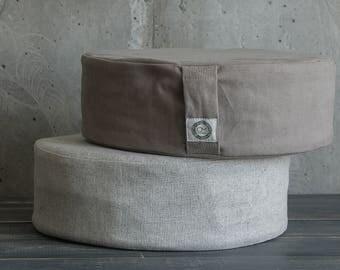 Grey cushion floor pillow linen cushion organic pillow hemp pillow floor pouf ottoman pouf hemp cushion meditation cushion scandi decor loft