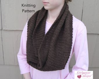 Easy Ribbed Cowl Knitting Pattern, Large Wide Infinity Shoulder Warmer, Worsted Yarn