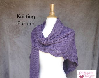 Wrap Shawl Knitting Pattern, Moss Stitch Leaf Lace Edge, Elegant Prayer Shawl, Light Worsted Yarn