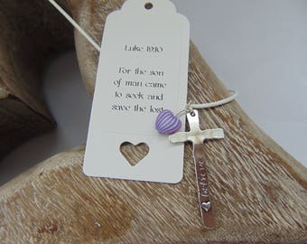 Silver plated cross with a heart & 'Believe' stamped on, plus striped heart charm on coordinating cord necklace. (Luke 19: 10)
