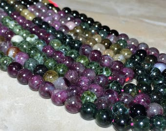 6mm Multi color Tourmaline Gemstone Round 6mm Loose Beads 15.5 inch Full Strand, Multi color Tourmaline Beads, Tourmaline Beads