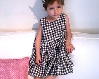 Black and white gingham r kitten dress + headband