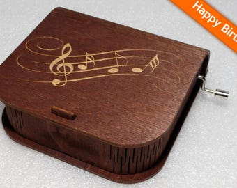 "Engraved Wooden Music Box  ""Happy Birthday"" - Hand Crank Movement"