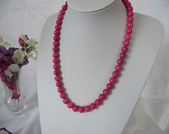 magnesite natural deep pink necklace with sterling silver